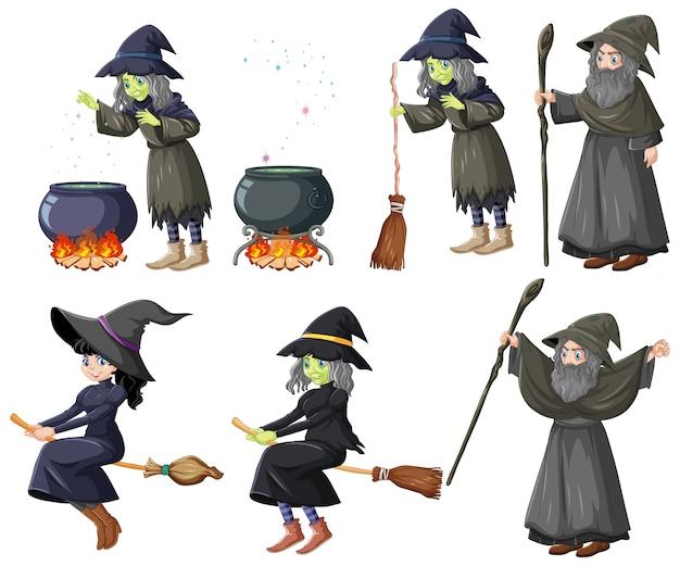 Satz zauberer- oder hexen- und werkzeugkarikaturstil lokalisiert auf weißem hintergrund