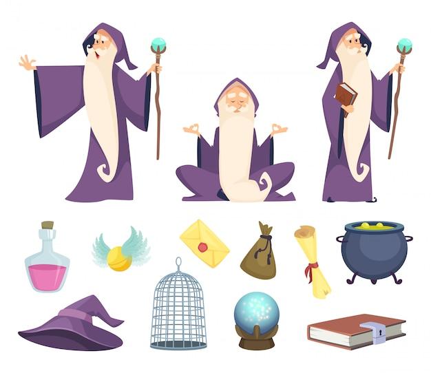 Satz zaubererwerkzeuge und männlicher zauberercharakter.