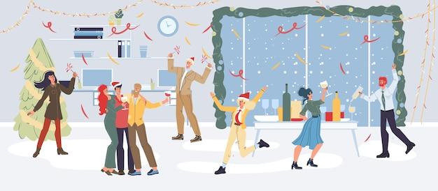Satz zeichentrickfiguren, die glücklich feiertags-verschiedene posen, emotionen, soziales freundschaftskonzept feiern