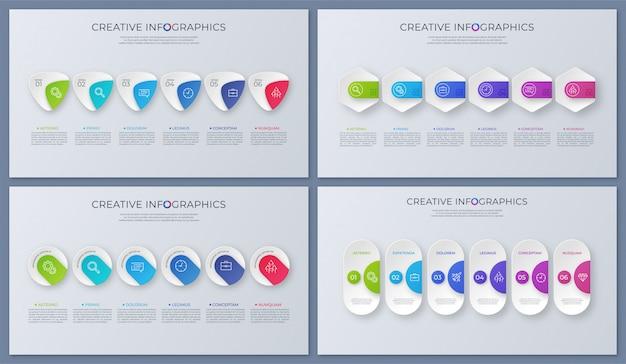 Satz zeitgenössische vektor-infografik-designs, vorlage, diagramme