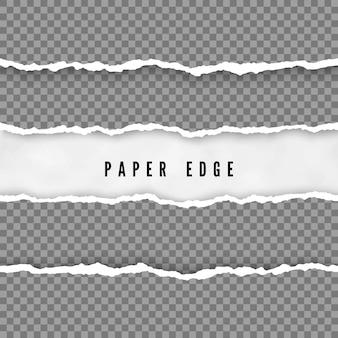 Satz zerrissene papierstreifen