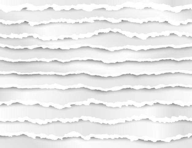 Satz zerrissene papierstreifenillustration