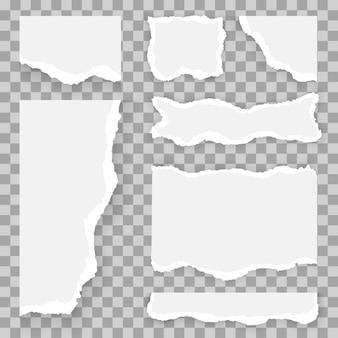 Satz zerrissene und zerrissene papierstreifen, zerrissene stücke. weiße und graue realistische horizontale papierstreifen mit platz für text.