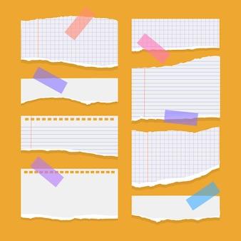 Satz zerrissene, zerrissene papierblätter aus weißem notizbuchpapier auf orange