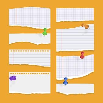 Satz zerrissene, zerrissene papierblätter aus weißem notizbuchpapier