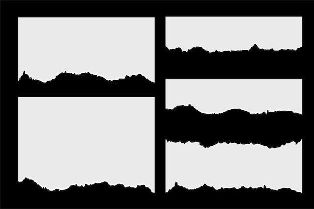 Satz zerrissene zerrissene papierblätter