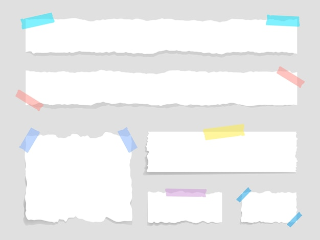 Satz zerrissenes papier mit klebeband befestigt. papierabfall. zerrissenes papier, zerrissene blätter und ein blatt papier für notizen.