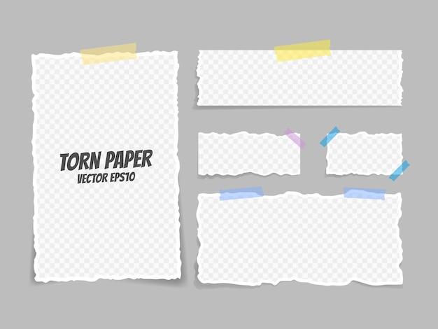 Satz zerrissenes papier mit klebeband befestigt. papiermüll. zerrissenes papier, zerrissene blätter und ein blatt papier für notizen. vektor-illustration.