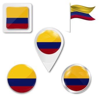 Satz zielflaggeikonen für das laufen von kolumbien
