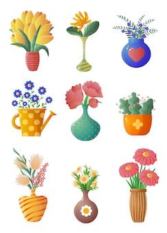 Satz zimmerpflanzen und blumen in töpfen und vasen