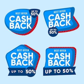 Satz zweifarbige cashback-etiketten