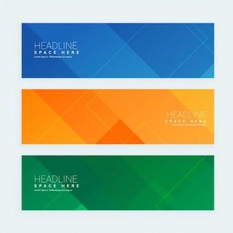 Sauber geometrischen stil minimal banner mit drei verschiedenen farben gesetzt