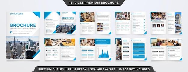 Saubere bifold-broschürenvorlage mit minimalistischem konzept
