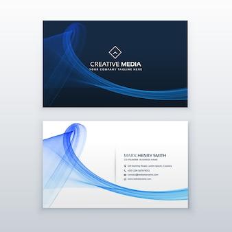 Saubere blaue visitenkarte mit wellenform