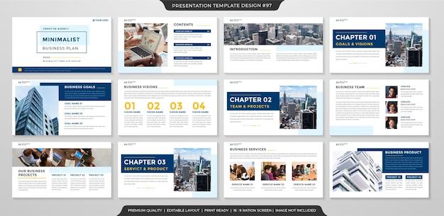 Saubere business-präsentationsvorlage minimalistischen stil