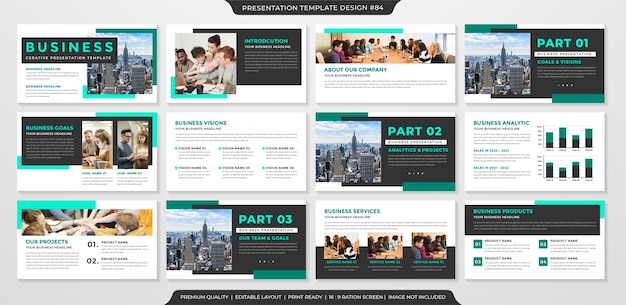Saubere business-präsentationsvorlage mit minimalistischem konzept