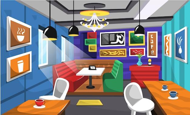 Saubere café-innenraum-ideen mit künstlerischem bild