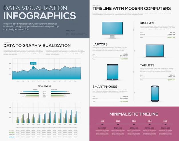 Saubere datenvisualisierung infografiken diagramme, balken und zeitleisten moderne tablet, handy, laptop und computer geschichtenerzähler