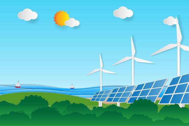 Saubere elektrische energie aus erneuerbaren quellen, sonne und wind.