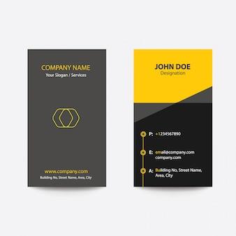 Saubere flache entwurfs-falten-art-gelb-farbgeschäfts-besuchs-karte