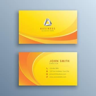 Saubere gelbe visitenkarte mit abstrakten wellen