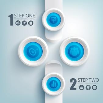 Saubere infografik-vorlage mit business-symbolen auf blauen runden schaltflächen und grauen rechtecken