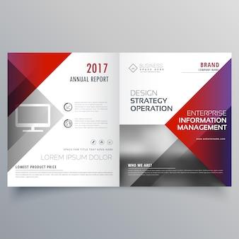 Saubere minimal bifold broschüre design schablone mit geometrischen formen