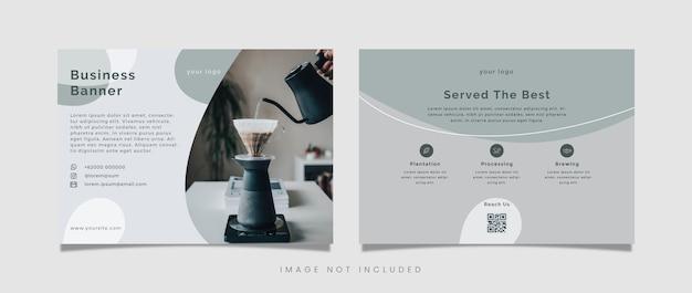 Saubere und einfache vorlage der geschäftsfahnenlandschaft mit kaffeethema