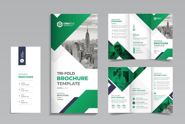Saubere und minimale designvorlage für dreifach gefaltete unternehmensbroschüren