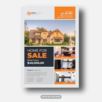 Saubere und moderne professionelle immobilien flyer premium-vorlage