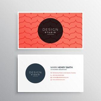 Saubere und moderne visitenkarte design mit rotem muster