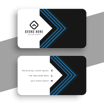 Saubere visitenkartenvorlage mit blauen geometrischen linien