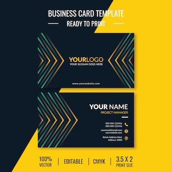 Saubere visitenkartenvorlage mit doppelseitigem design