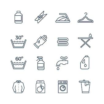 Saubere wäsche und trockner linie symbole
