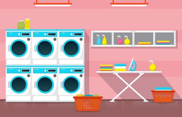 Saubere waschsalon waschmaschine wäschewerkzeuge modernes interieur
