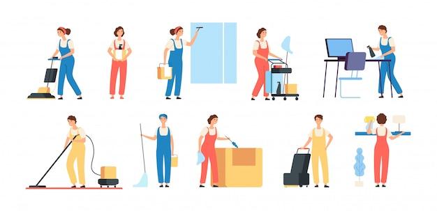 Sauberere personen. reinigungsservice arbeiter männliche weibliche reinigungskräfte in einheitlichen staubsauger hausmädchen haushaltsgeräte zeichen