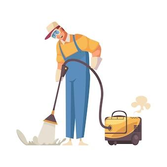 Saubererer wischboden mit flachem symbol der professionellen ausrüstung auf weiß