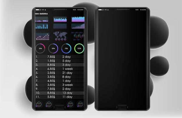 Sauberes designkonzept für die mobile benutzeroberfläche. trendy mobile banking. kryptowährungstechnologie. bitcoin exchange. finanzanalyse. vorlage für den handel mit geschäftsanwendungen.