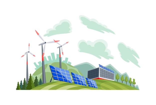 Sauberes elektrisches energiekonzept. erneuerbare stromquelle aus sonnenkollektoren und windkraftanlagen. ökologischer wandel der zukunft. skyline der stadt und naturlandschaft im hintergrund.