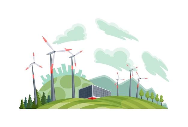 Sauberes elektrisches energiekonzept. erneuerbare stromquelle aus windkraftanlagen. ökologischer wandel der zukunft. skyline der stadt und naturlandschaft im hintergrund