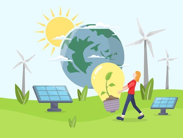 Sauberes energiekonzept. erneuerbare energie für eine bessere zukunft. mädchen tragen eine glühbirne mit einer pflanze darin. umweltfreundliche energie, solarpanel und windkraftanlage. in einem flachen stil