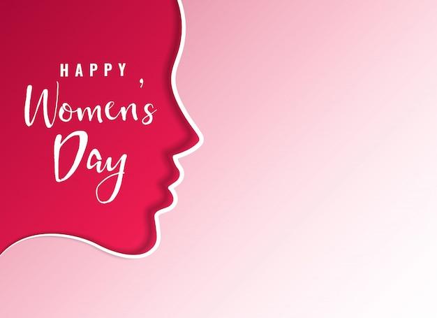 Sauberes glückliches frauentageskarten-design mit weiblichem gesicht
