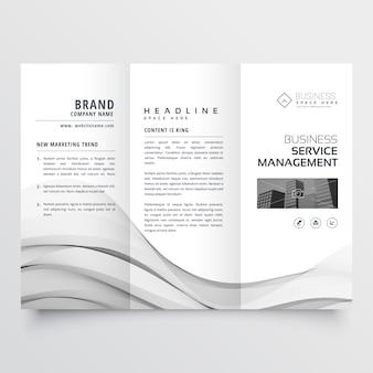 Sauberes minimales trifold broschürenschablonenplan
