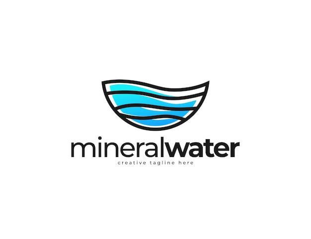 Sauberes und blaues wasser mit logo-designvorlage für mineralwasser-schriftzug