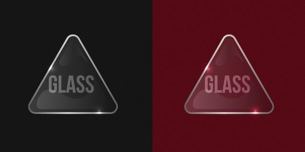 Sauberes und glänzendes transparentes vektorglas-modell mit glänzendem rahmen