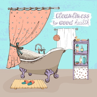 Sauberkeit für ein gutes gesundheitskonzept, das ein badezimmerinnenraum mit einer vintage-badewanne mit kugel und klaue zeigt