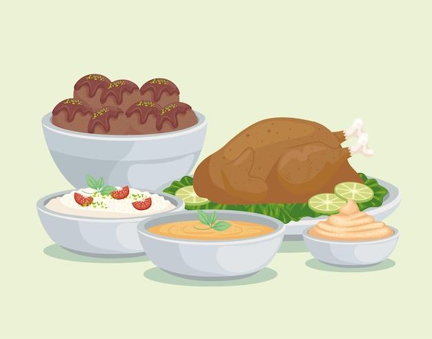 Saucen und arabische lebensmittel