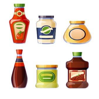 Saucen und dressings in glasflaschen