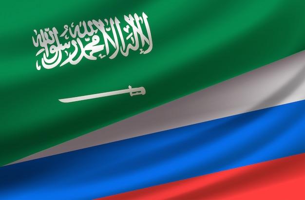 Saud arabi und russland. vektorhintergrund mit flaggen