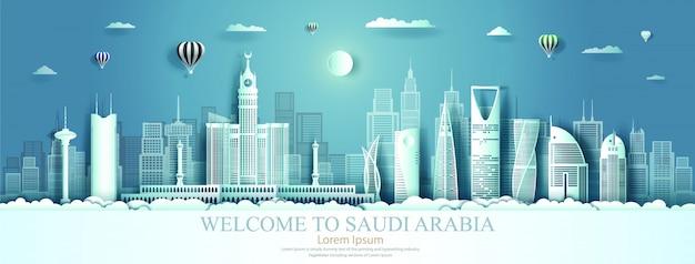 Saudi-arabien grenzstein mit architekturhintergrund